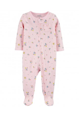 Macacão Zip-Up Floral Rosa Baby Carter's