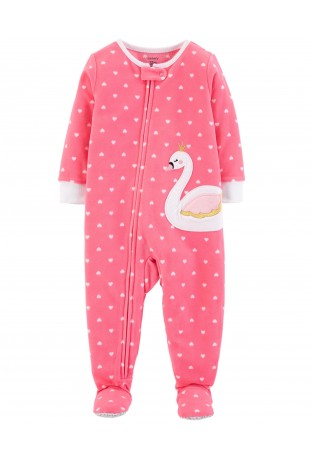 Macacão Zip-Up Cisne Fleece Baby Carter's